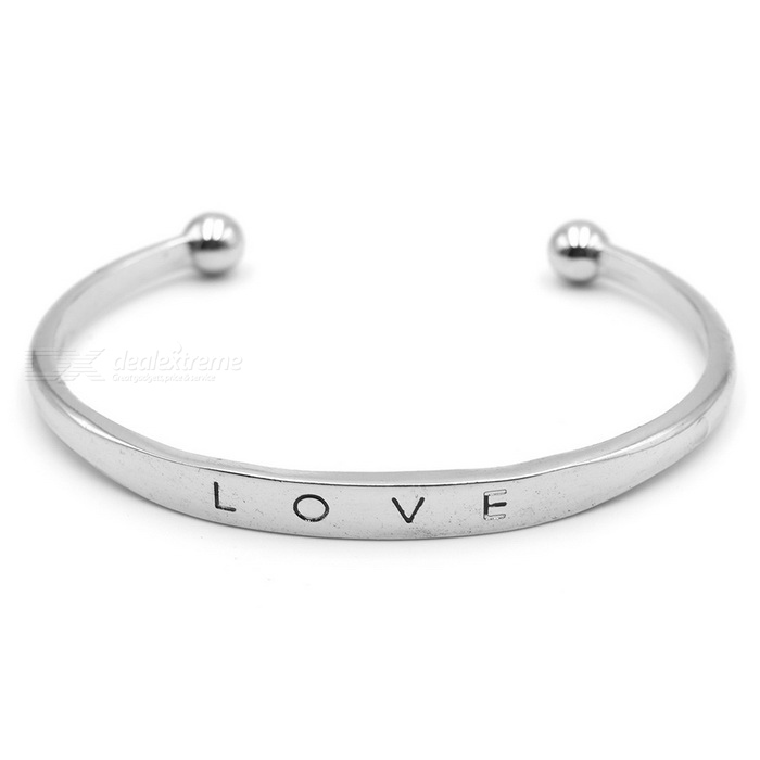Simple Fashion Love Word Silver Plated Alloy Cuff Bracelet - Silver