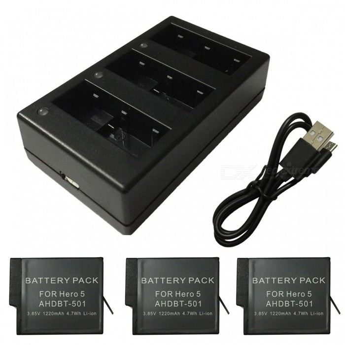 Ismartdigi 3.85V 1220mAh Camera Batteries + 3-Slot USB Charger -Black