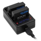 TELESIN 3-Channel USB Charger for GoPro Hero 4 - Black + White