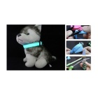Nylon Ribbon + 2-LED Blue Light Reflective Pet Collar - Blue + Black