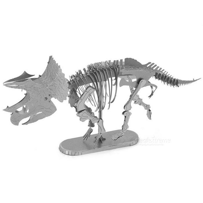 DIY Puzzle 3D Assembled Skeleton of Triceratops Model Toy - SilverBlocks &amp; Jigsaw Toys<br>Form  ColorSilverMaterialStainless steelQuantity1 DX.PCM.Model.AttributeModel.UnitNumber2Size14.8cm * 3.5cm * 6.8cmSuitable Age 5-7 years,8-11 years,12-15 years,Grown upsPacking List1 * Model Toy<br>