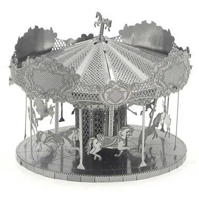 DIY Stainless Steel Puzzle 3D Assembled Carousel Puzzle Toy - Silver
