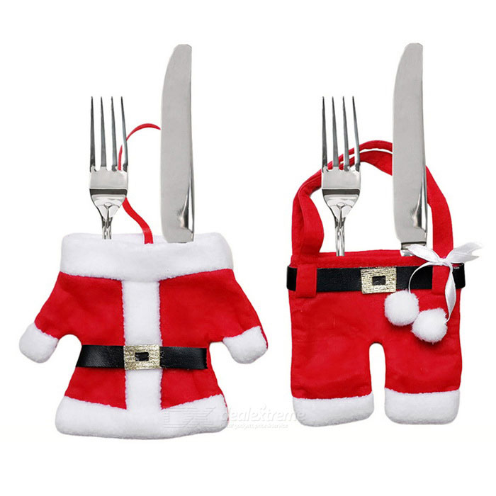 Christmas Dinner Table Decoration Small Clothes + Pants - RedLifestyle Gadgets<br>Form  ColorRedMaterialNon woven fabricQuantity1 DX.PCM.Model.AttributeModel.UnitPacking List1 * Small clothes1 * Small pants<br>