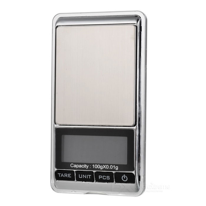 JEDX 1.8 Electronic 5-Digital LCD Display Jewelry Scale (100g/0.01g)Digital Scales<br>Form ColorSilverModel-Quantity1 DX.PCM.Model.AttributeModel.UnitMaterialPlasticTypeJewelry Scale,Kitchen ScaleScreen Size1.8Max. Weight100gMin. Weight0.03gUnitgDivision0.01gAuto Power OffYesPowered ByAAA BatteryBattery Number2Battery included or notNoPacking List1 * Electronic digital scale1 * 5g Weight1 * User manual (English / Chinese)<br>