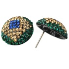Brazil Flag Pattern Shining Zircon Earrings - Green + Deep Blue (Pair)