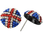 UK Flag Pattern Shining Zircon Earrings - White + Red + Blue (Pair)