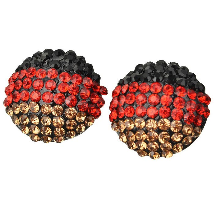 German Flag Pattern Shining Zircon Earrings - Black + Multicolor(Pair)