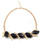 Stylish Black Gem Short Decorative Necklace - Golden + Black