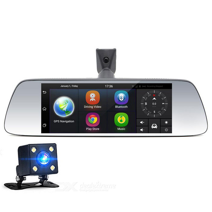 JUNSUN K713 quad-core full HD 1080p duplo lente retrovisor carro DVR