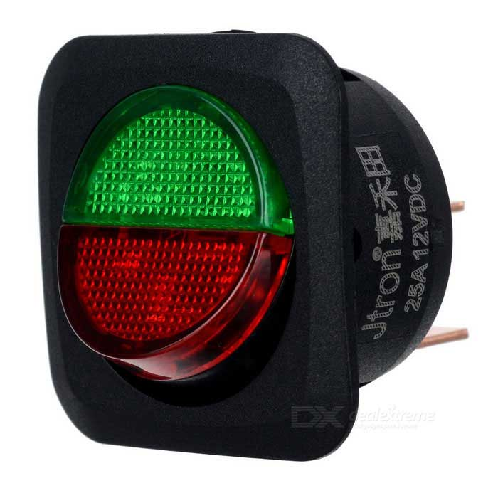 Jtron DC 12V 25A Red + Green LED Light On-OFF Button Car Switch -BlackCar Switches<br>Form  ColorBlackModel-Quantity1 DX.PCM.Model.AttributeModel.UnitMaterialPlasticIndicator LightYesRate Voltage12VRated Current25 DX.PCM.Model.AttributeModel.UnitPacking List1 * Switch<br>