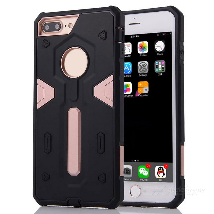 Desmontable PC + TPU trasero caso para IPHONE 7 PLUS - oro rosa + negro