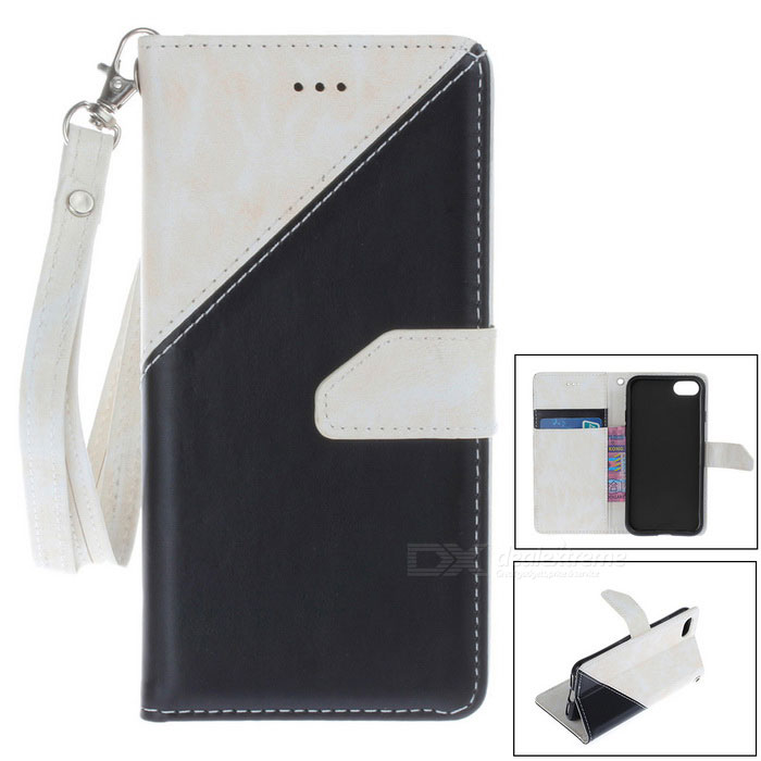 "PU Leather Wallet Case w/ Stand for IPHONE 7 4.7"" - White + Black"