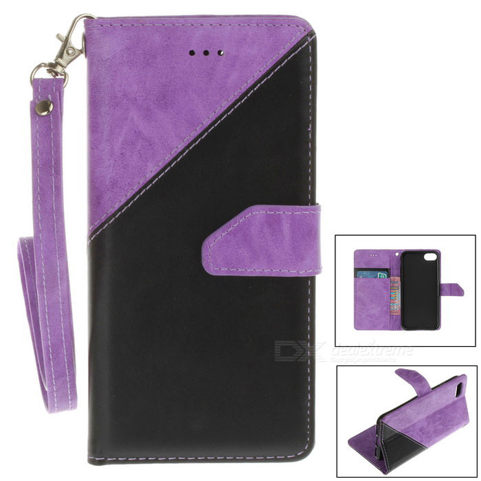 "PU Leather Wallet Case w/ Stand for IPHONE 7 4.7"" - Purple + Black"