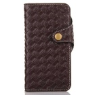 Mesh PU + TPU Flip Leather Case w/ Stand for IPHONE 7 - Deep Brown