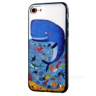 HD Embossed Whale Pattern Back Case for IPHONE 7 - Blue + White