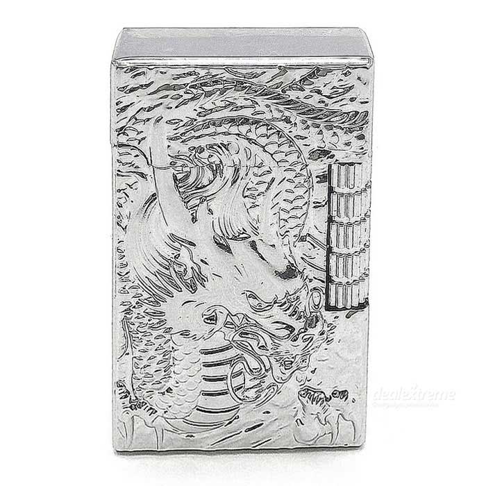 Exquisite Carving Dragon Metal Refillable Butane Gas Lighter - Silver