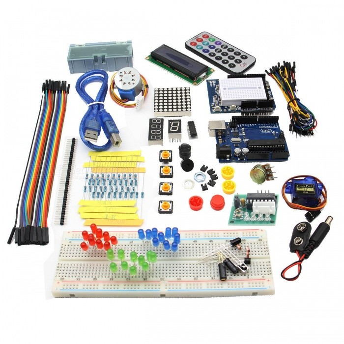 Geekworm UNO Basic Beginner Learning Kit Upgrade Version for ArduinoKits<br>Form  ColorWhite + Light Green + Multi-ColoredModelT2Quantity1 setMaterialPCB + ABSEnglish Manual / SpecNoDownload Link   N/APacking List1 * UNO R3 main board1 * USB cable(45cm)1 * Prototype Expansion board1 * Mini breadboard 1 * 5V stepping motor1 * 2003 Stepping Motor Drive Board5 * Green LEDs5 * Yellow LEDs5 * Red LEDs1 * Vibration sensor1 * Flame sensor1 * LM35 temperature sensor1 * Infrared receiver1 * Photoresistors1 * Adjustable potentiometer1 * Passive buzzer1 * Active buzzer1 * Jump cap1 * Breadboard1 * Remote control1 * 1602 LCD module1 * 9V Battery Buckles1 * SMD components box1 * DuPont Cable1 * Jumper wires for breadboard(1 lot)1 * 330 ohm resistor plug1 * 1k resistor plug1 * 10k resistor plug1 * 220ohm resistor 1 * 1 Digital tube1 * 4 Digital tube1 * 8*8 Dot matrix1 * 74HC595 chip1 * Battery holder1 * 40-Pin header1 * Box<br>