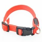 Nylon Ribbon + 2-LED Red Light Reflective Pet Collar - Red + White
