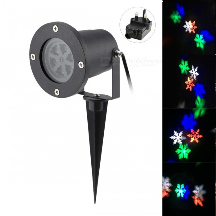 4W 6-LED Snowflake Projector RGB Light for Christmas - Black (UK Plug)