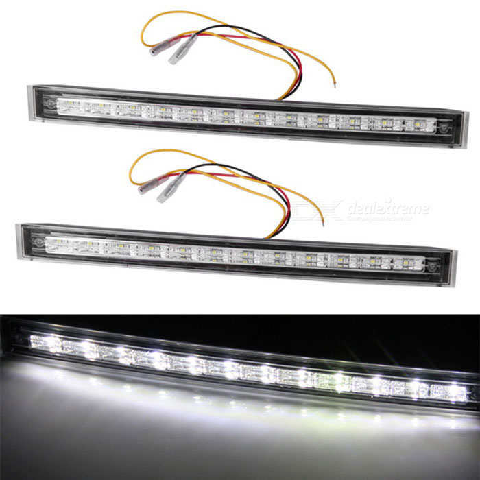 QooK 12-LED White Yellow Light Auto Auto DRL + Luz de sinal de giro (2 PCS)