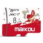 Maikou 8GB Micro SD / TF Memory Card w/ Dragon Pattern Cover - Red
