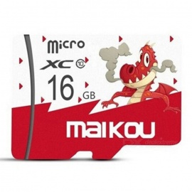 Maikou 16GB Micro SD / TF Memory Card w/ Dragon Pattern Cover - Red