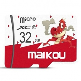 Maikou 32GB Micro SD / TF Memory Card w/ Dragon Pattern Cover - Red