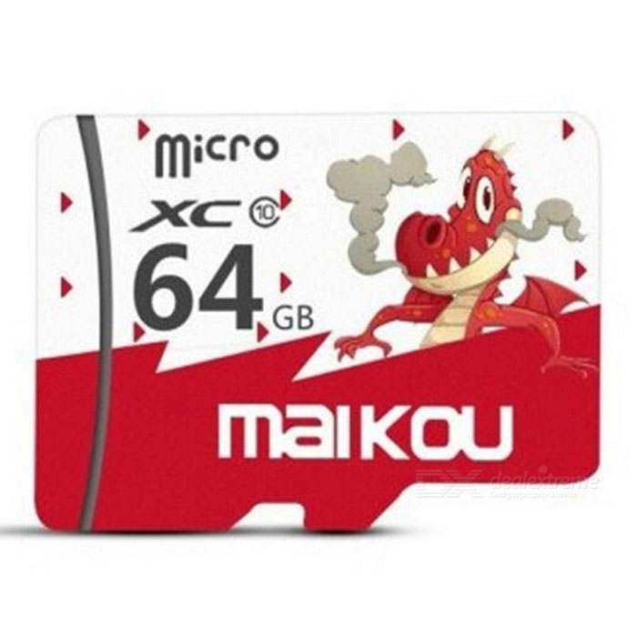 Maikou 64GB Micro SD / TF Memory Card w/ Dragon Pattern Cover - Red