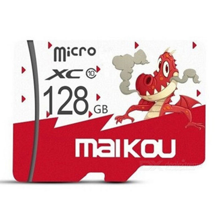 Maikou 128GB Micro SD / TF Memory Card w/ Dragon Pattern Cover - Red