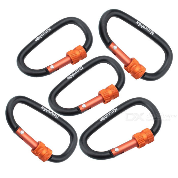 NatureHike 6cm Type-D Alloy Quick Release Buckle - Black + Red (5 PCS)