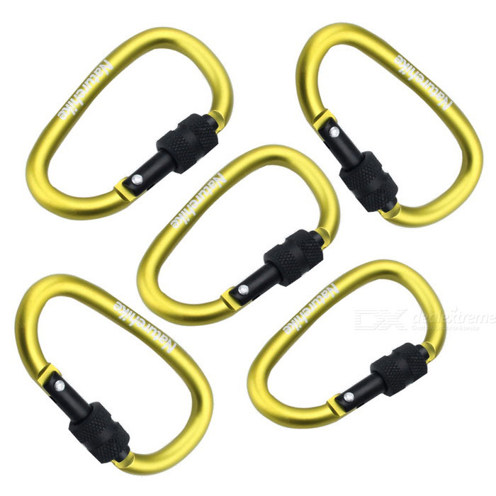 NatureHike 6cm Type-D Quick Release Buckle - Green+ Black (5 PCS)Form  ColorGreen + Black (5PCS)ModelNH15A005-HQuantity5 DX.PCM.Model.AttributeModel.UnitMaterialAluminium alloyBest UseFamily &amp; car camping,Travel,CyclingCarabiner typeLocking carabinerWeight Limit25 DX.PCM.Model.AttributeModel.UnitLength6 DX.PCM.Model.AttributeModel.UnitSizeFree SizeTypeBackpack Accessories,Carabiners,ParacordsPacking List5 * Mountaineering buckles<br>