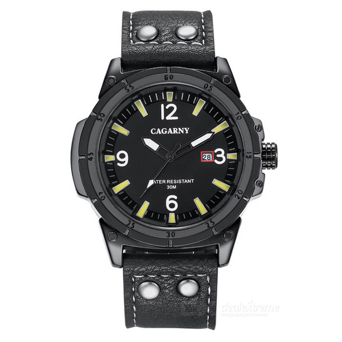 CAGARNY Waterproof 30m Casual Big Dial Men Quartz Watch - Black