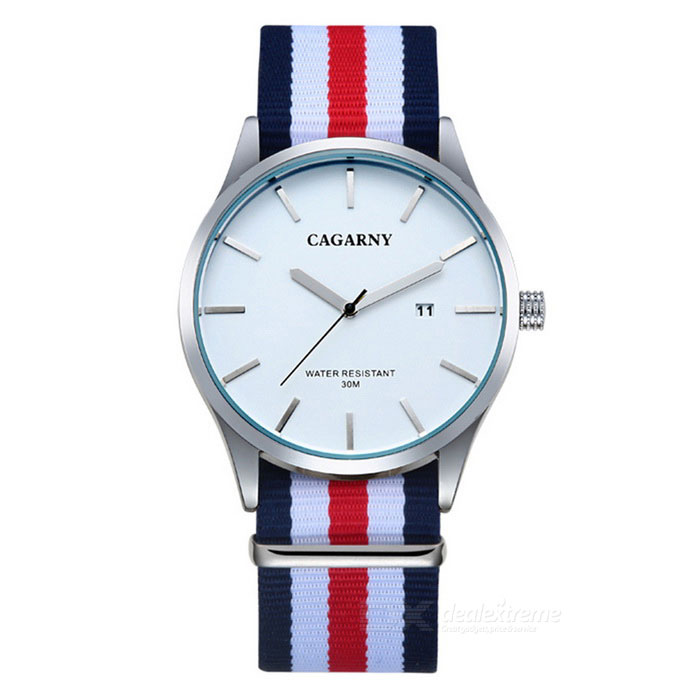 CAGARNY Waterproof Ultra-thin Men Quartz Watch - White + Multi-clolorQuartz Watches<br>Form  ColorTranslucent White + Blue + Multi-ColoredModel6865Quantity1 DX.PCM.Model.AttributeModel.UnitShade Of ColorWhiteCasing MaterialStainless steelWristband MaterialNylonSuitable forAdultsGenderMenStyleWrist WatchTypeCasual watchesDisplayAnalogBacklightNOMovementQuartzDisplay Format12 hour formatWater ResistantWater Resistant 3 ATM or 30 m. Suitable for everyday use. Splash/rain resistant. Not suitable for showering, bathing, swimming, snorkelling, water related work and fishing.Dial Diameter4.2 DX.PCM.Model.AttributeModel.UnitDial Thickness0.97 DX.PCM.Model.AttributeModel.UnitWristband Length24.8 DX.PCM.Model.AttributeModel.UnitBand Width2.2 DX.PCM.Model.AttributeModel.UnitBatterysr626sw / 1pcsPacking List1 *  Quartz Watch<br>