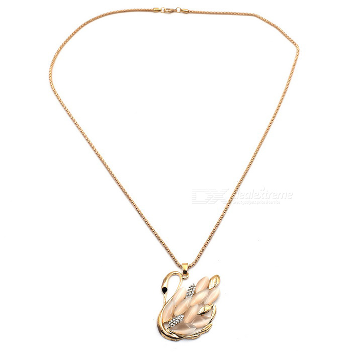 Shiny Swan Opal Long Necklace for Decoration - Rose Gold