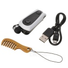 Bluetooth V4.0 Retractable Cable Clip-on Headset - Svart + Vit