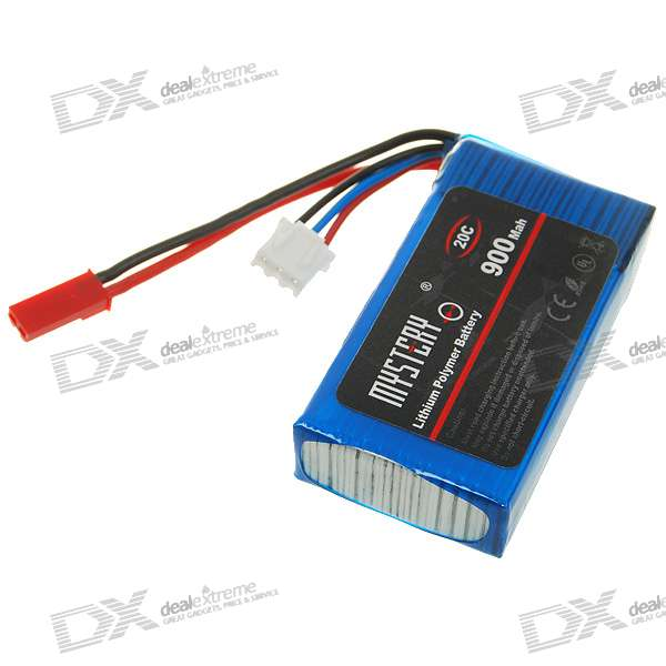 Mystery 7.4V 900mAh 20C Rechargeable Li-Po Battery for R/C Helicopters