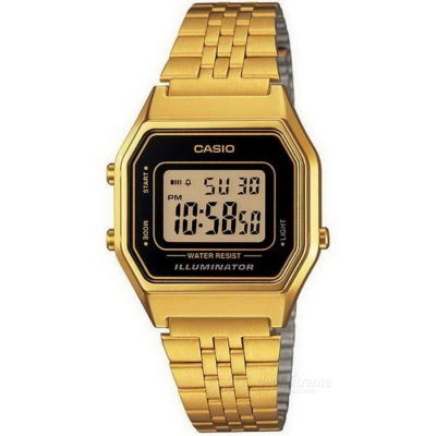 Casio LA-680WGA-1DF Unisex Digital Alarm Watch - Golden + Black
