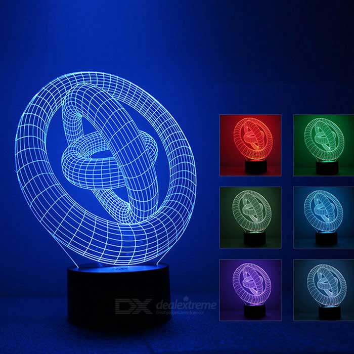 3D Stereo Three-ring Shape LED Colorful Night Light / Table Lamp