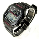Casio AE-1300WH-1A2VDF Digital Alarm Watch - Black/Pink (Without Box)