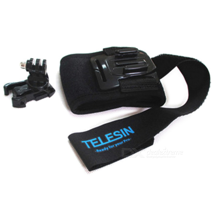 TELESIN 360 Rotating Arm / Wrist / Leg Fixing Strap for Gopro Hero 5Mounting Accessories<br>Form  ColorBlackQuantity1 DX.PCM.Model.AttributeModel.UnitMaterialNylon + ABSShade Of ColorBlackCompatible ModelsOthers,GoPro Hero 1,GoPro Hero 2,GoPro Hero 3,GoPro Hero 3+,GoPro Hero 4,GoPro Hero 4 Session,Hero5 / Xiaomi Camera / SJ CameraRetractableNoMax.Load1,000 DX.PCM.Model.AttributeModel.UnitPacking List1 * Wrist strap1 * 360 Degree rotating  base1 * Long screw<br>