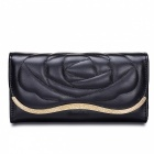 L011-2 Fashion Flower Pattern Women's Long PU Purse - Black