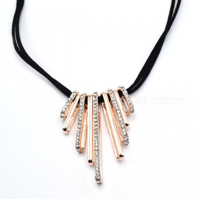 Fashion Rhinestone Inlaid Zinc Alloy Women Necklace - Golden + Black