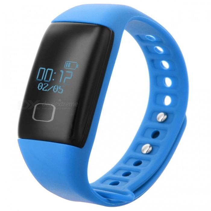 "KICCY T1S 0.66"" OLED TPU + ABS Bluetooth v4.0 Sport Smart Band - Blå"