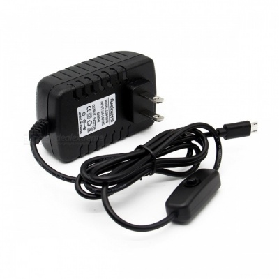 Geekworm DC 5V 3A Power Adapter with Switch for Raspberry Pi (US Plug)