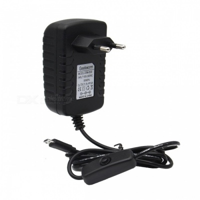 Geekworm DC 5V 3A Power Adapter with Switch for Raspberry Pi (EU Plug)