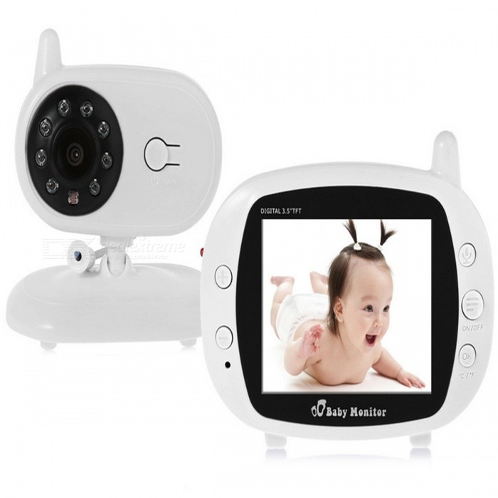 KELIMA 850 3.5 Inch Digital Wireless Baby Monitor - White (UK Plug)Baby Monitor<br>Form  ColorWhitePower AdapterUK PlugModel850MaterialABSQuantity1 DX.PCM.Model.AttributeModel.UnitPixel1.3MPLens3.6mmPicture Resolution640 * 480Video Resolution720PFrame Rate30Image SensorCMOSVideo Compressed FormatH.264Night VisionYesIR-LED Quantity8Night Vision Distance10-30 DX.PCM.Model.AttributeModel.UnitVideo FormatsH.264Maximum Memory Supported0 DX.PCM.Model.AttributeModel.UnitMemory CardNOBuilt-in Memory / RAMNoSupported LanguagesOthers,NOViewing Angle90 DX.PCM.Model.AttributeModel.UnitWater-proofNoPower AdaptorYesIntercom FunctionYesRotation120 DX.PCM.Model.AttributeModel.UnitMotorNoWireless / WiFiNoMobile Phone platformN/ASIM SlotOthersOther FeaturesMain Features:<br>Wireless digital baby monitor, caring about your babys security<br>Allows you watching your child when you are not beside him / her<br>The transmission range is up to 300m in theory<br>With 3.5 inch high definition color LCD display, 380 TVL, 480 x 234 resolution<br>The monitor is built-in 600mAh rechargeable Li-polymer battery, more convenient to use<br>With frequency hopping RF modulation<br>Dynamically select clean channels to avoid the interference from other 2.4GHz devices<br>Support ID identification, for protecting the data privacy<br>Playing lullabies, help your baby fall asleep<br>Temperature detection<br>Built-in mic in camera and speaker in receiver, support two-way audio communication<br>Up to 5m night vision range<br>EU plug input: AC 100 - 240V 50 / 60Hz<br>EU plug output: DC 5V 1A<br>The adapter color is random when delivering ( white or black )Packing List1 * Monitor1 * Receiver2 * Power Adapters1 * English User Manual<br>