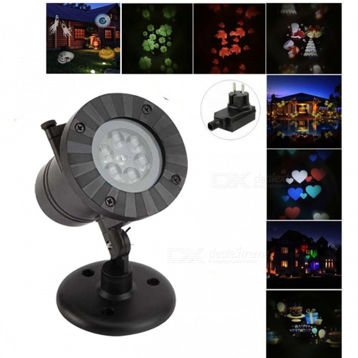 12-in-1 Rotating RGB Light LED Projection Lamp for Christmas - BlackFloodlights<br>Form  ColorBlack(EU Plug 12-in-1)Color BINRGBMaterialAluminum alloyQuantity1 DX.PCM.Model.AttributeModel.UnitWaterproof GradeIP44Power4WRated VoltageAC 100-240 DX.PCM.Model.AttributeModel.UnitEmitter TypeLEDActual Lumens100 DX.PCM.Model.AttributeModel.UnitColor Temperature4200KDimmableNoBeam Angle120 DX.PCM.Model.AttributeModel.UnitPacking List1 * Projector light 1 * Bracket1 * EU power adapter (5m cable)12 * Slides(one slide comes preloaded for your convenience)<br>