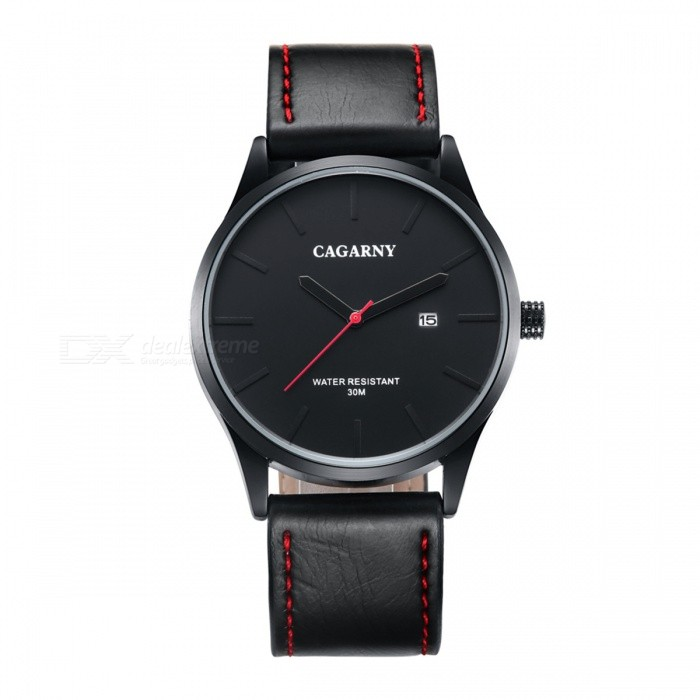 CAGARNY Waterproof 30m Casual Men Quartz Watch - BlackQuartz Watches<br>Form  ColorBlackModel6865Quantity1 DX.PCM.Model.AttributeModel.UnitShade Of ColorBlackCasing MaterialAlloyWristband MaterialLeatherSuitable forAdultsGenderMenStyleWrist WatchTypeFashion watchesDisplayAnalogBacklightNOMovementQuartzDisplay Format12 hour formatWater ResistantWater Resistant 3 ATM or 30 m. Suitable for everyday use. Splash/rain resistant. Not suitable for showering, bathing, swimming, snorkelling, water related work and fishing.Dial Diameter4.2 DX.PCM.Model.AttributeModel.UnitDial Thickness1 DX.PCM.Model.AttributeModel.UnitWristband Length27 DX.PCM.Model.AttributeModel.UnitBand Width2.2 DX.PCM.Model.AttributeModel.UnitBatterysr626sw / 1pcsPacking List1 * Quartz watch<br>