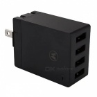 Universal 4-Port USB 5V 2.4A AC Charger w/ US Plug - Black (100~240V)