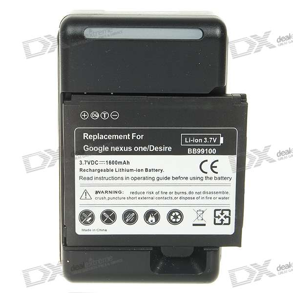 Replacement 3.7V 1600mAh Cellphone Battery with Charger for HTC Desire/G7 replacement 3 7v 1500mah cellphone battery with charger for htc desire hd